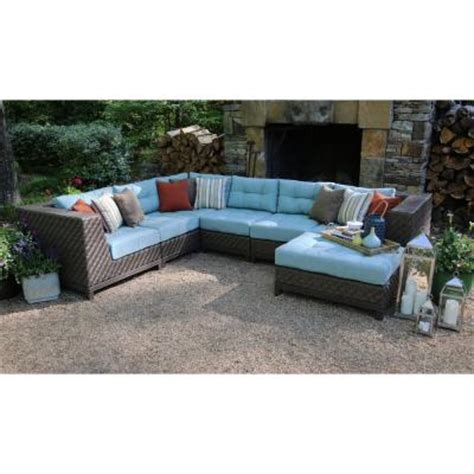Ae Outdoor Dawson 7 Piece Patio Sectional Seating Set With