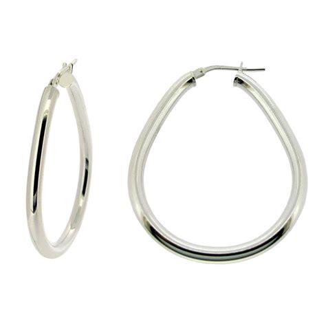 Ear Piercing Sleepers by Sterling Silver Polished 3mm Pear Oval Hoop Sleeper