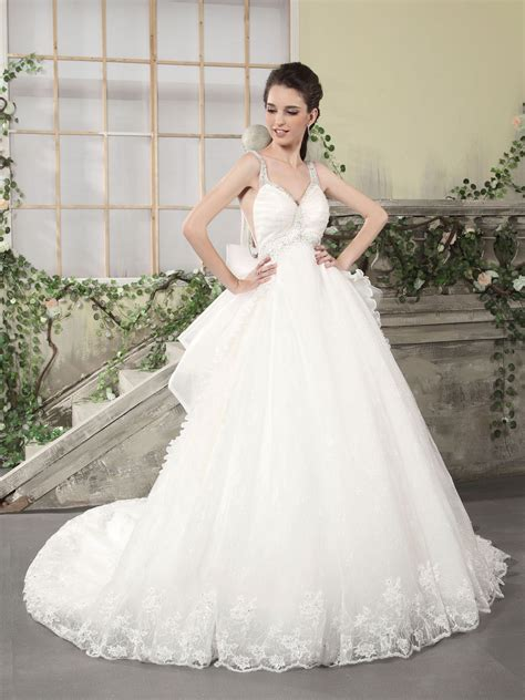 organza empire ball gown wedding dress with straps sang