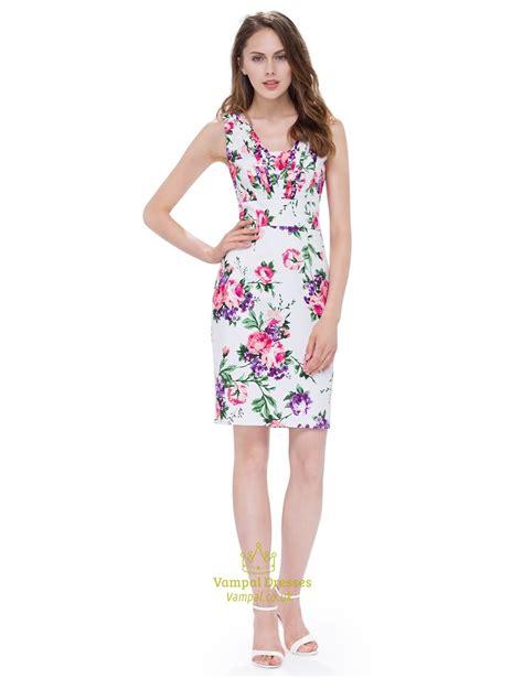 V Neck Sleeveless White white sleeveless v neck floral printed bodycon casual