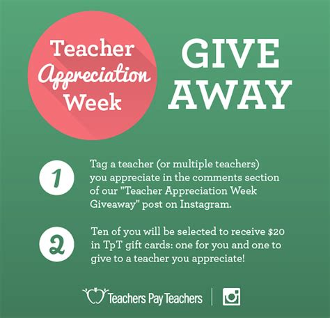 How To Do A Instagram Giveaway - instagram giveaway teacher appreciation week the tpt blog