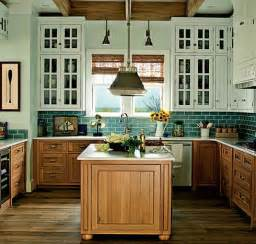 House Cabinets Two Tone Oak Cabinets Kitchen Teal Kitchen