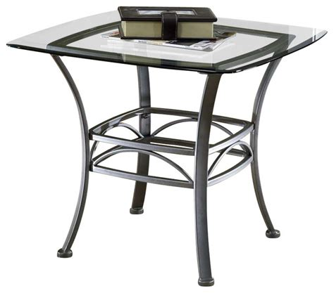 Square End Table Wrought Iron W Glass Top Contemporary