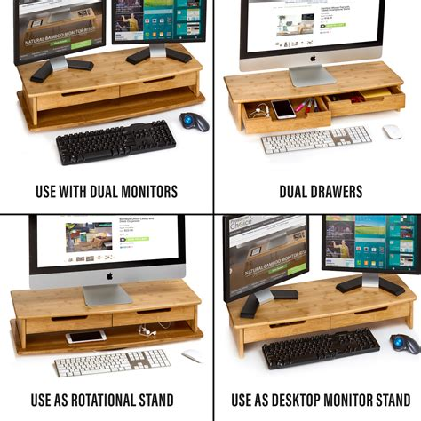 dual monitor riser with drawer bamboo xl swivel stand with dual drawers prosumer s