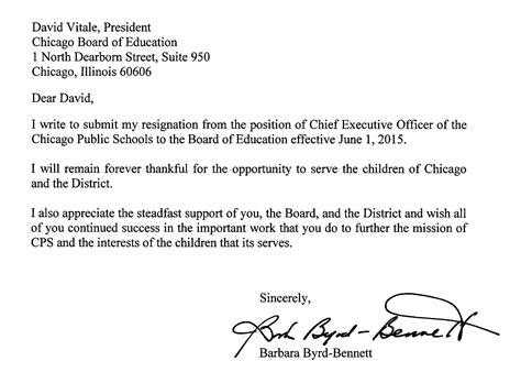 Resignation Letter Format Singapore resignation letter from cps chief barbara byrd