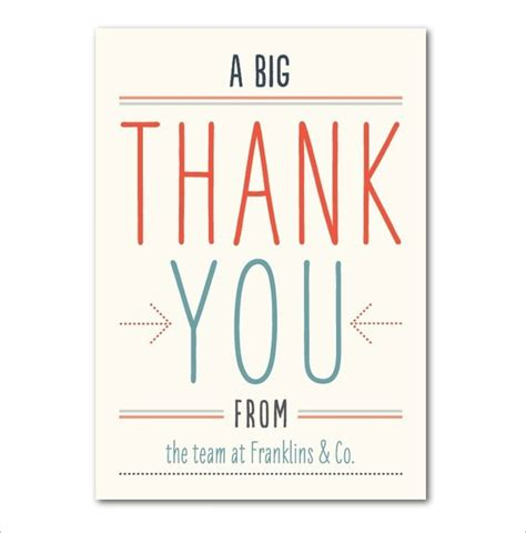 Large 11x17 Thank You Card Template by 17 Business Thank You Cards Free Printable Psd Eps