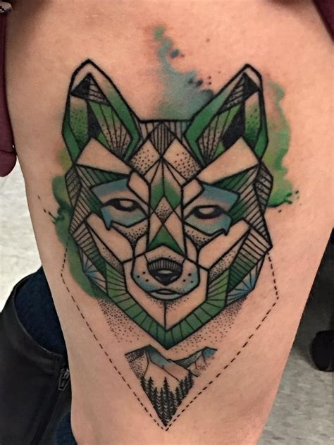 brew city tattoo watercolor geometric wolf by jon murray at brew