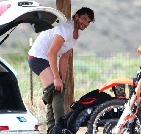 Ashton kutcher shows off nasty gash as he strips off before motocross meet daily mail online