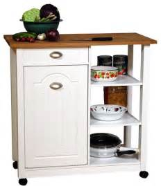 Kitchen Island With Trash Bin Venture Horizon Double Butcher Block Mobile Island Bin In