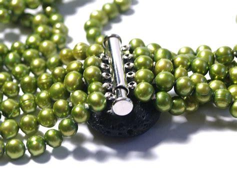 Zeca 147 Rosegold Green Original green multi strand pearl necklace by prisha jewels notonthehighstreet