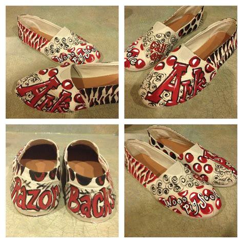 painted arkansas razorbacks canvas shoes painted shoes