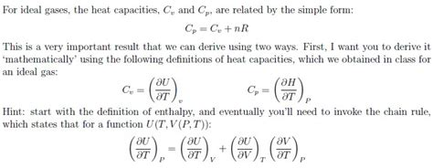 for ideal gases the heat capacities cv and cp