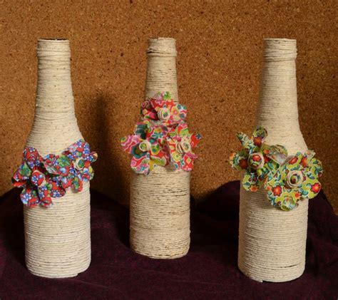 garrafas floridas juta estopa barbante artesanatos bem