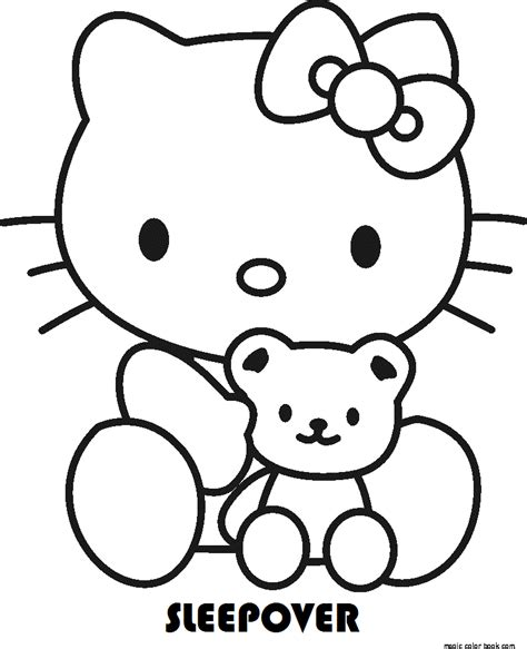 hello kitty sleeping coloring pages hello kitty sleepover coloring pages online free kids girls