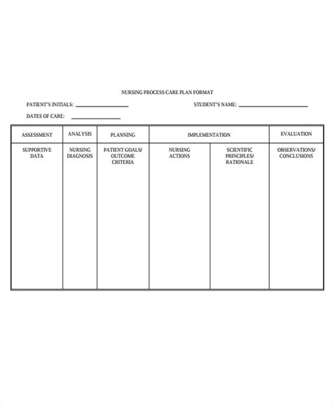 nursing care plan format template 9 nursing care plan templates free sle exle