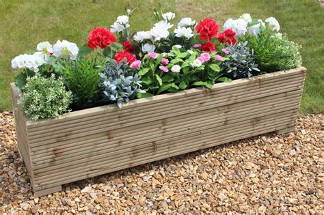 Wooden Garden Planters Large by Large Wooden Garden Planter Trough 120cm Length Free