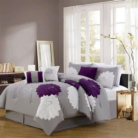 grey  purple comforter bedding sets