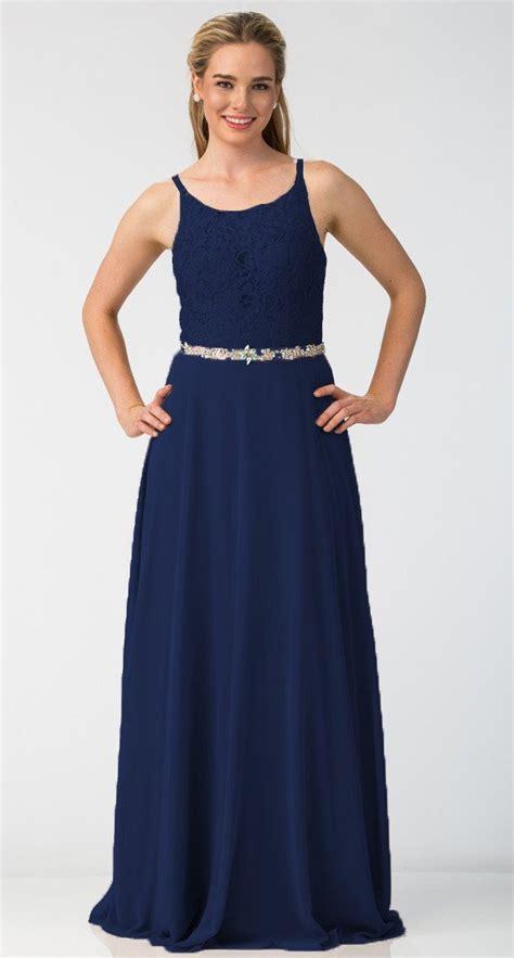Dress Anabel 563 a line chiffon formal dress mocha lace bodice rhinestone waist discountdressshop