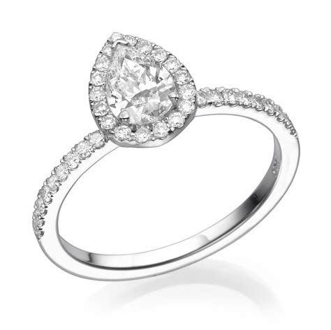 pear engagement ring 14k white gold ring 0 5 1 ct