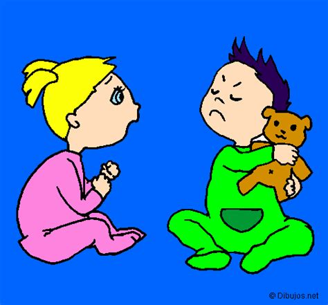 imagenes niños peleando para colorear colored page brothers painted by ni 241 os peleando
