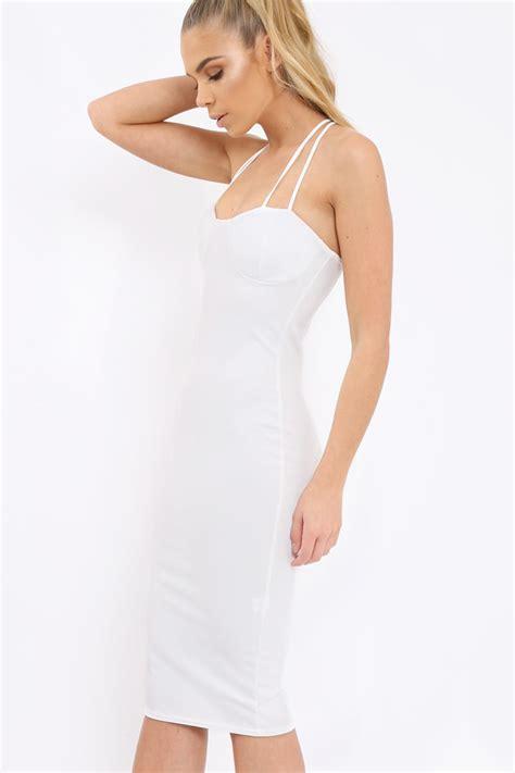 Dress Helsa white bra cup detail midi dress helsa