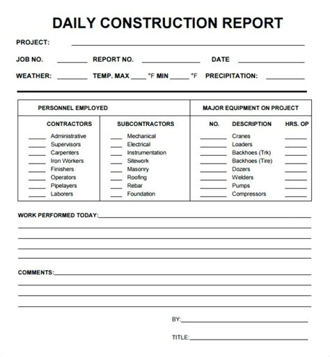 superintendent daily report template construction daily log template to free construction daily