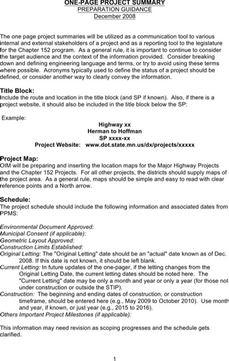Download Project Summary Templates For Free Formtemplate One Page Project Overview Template