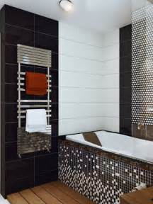 Black And White Bathroom Tile Design Ideas Black White Mosaic Bathroom Tile Interior Design Ideas