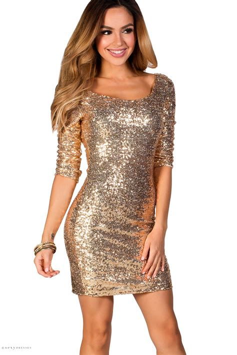 Gold Dresses Make Holidays Nicer by Quot Quot Gold Fitted Sequin Dress With Sleeves