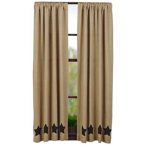 short black curtains burlap natural black stencil star short curtain panels 63