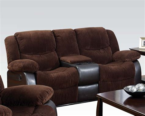 corduroy fabric loveseat w console bernal by acme