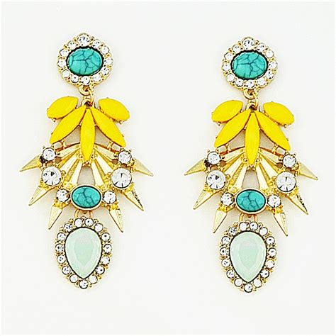 Drop Statement Earrings burst drops mint and yellow statement earrings by