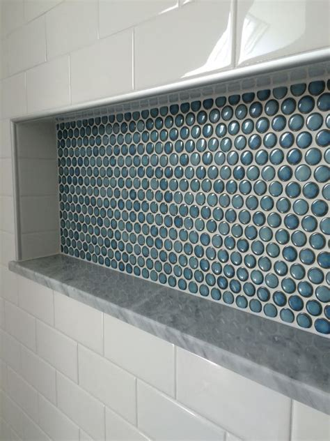 penny tile bathroom ideas shelf ideas custom shower and tile on pinterest