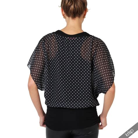 2 In 1 Blouse Kancing Batwing 8367 womens casual sleeve batwing dolman chiffon blouse 2in1 t shirt ebay