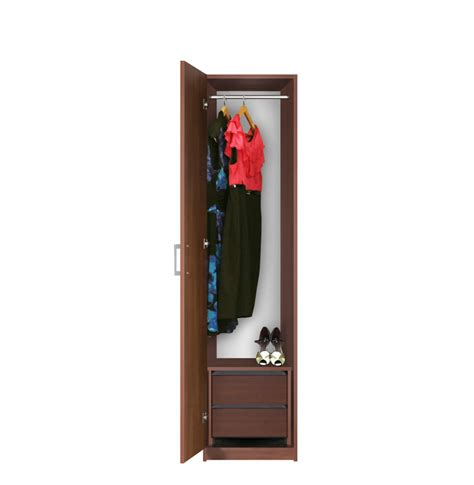 Narrow Closet Doors Narrow Closet Left Opening Door 2 Interior Drawers Contempo Space
