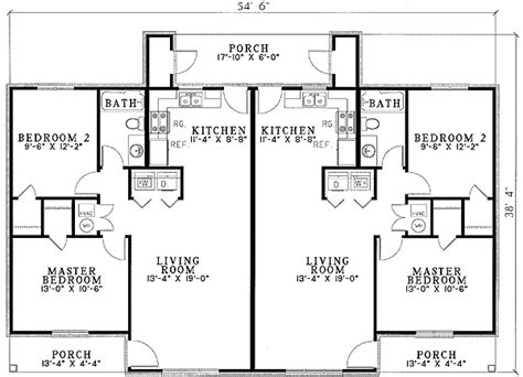 2 bedroom 2 bath duplex floor plans plan w59366nd duplex with privacy e architectural design