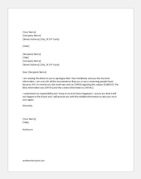 Apology Letter Wrong Item Shipped apology letters for providing wrong information word excel templates