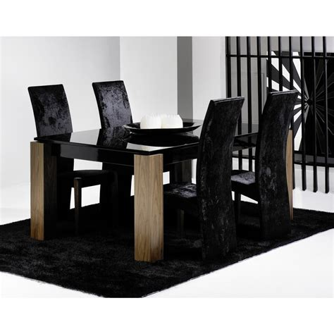 Dining Tables Black Glass Walnut And Black Glass Dining Table