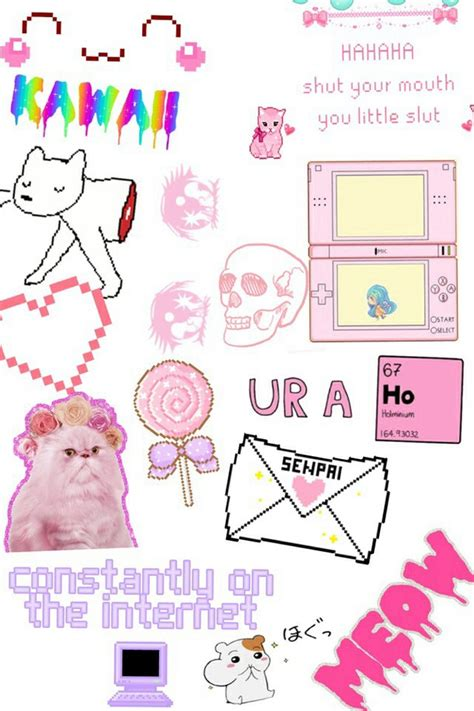 Wallpaper Sticker Girly collage girly kawaii overlays pink stickers
