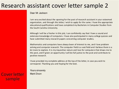 cover letter for research assistant research assistant cover letter
