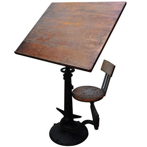 Chair For Drafting Table American Drawing Table With Articulated Chair At 1stdibs