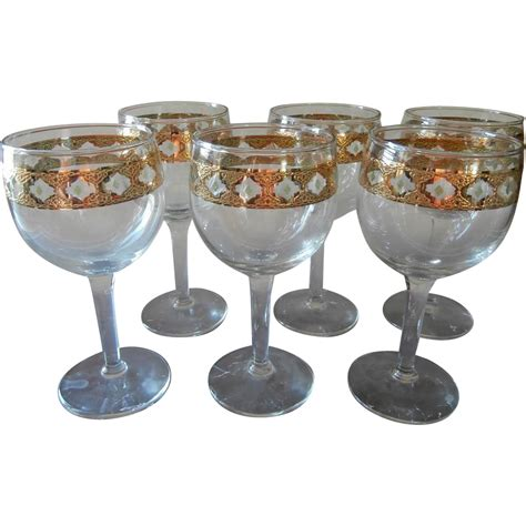 vintage barware culver valencia 6 stem wine cocktail glasses vintage