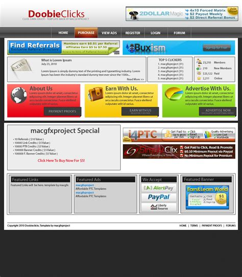php forum templates free wts ptc templates for the buck quality designs by