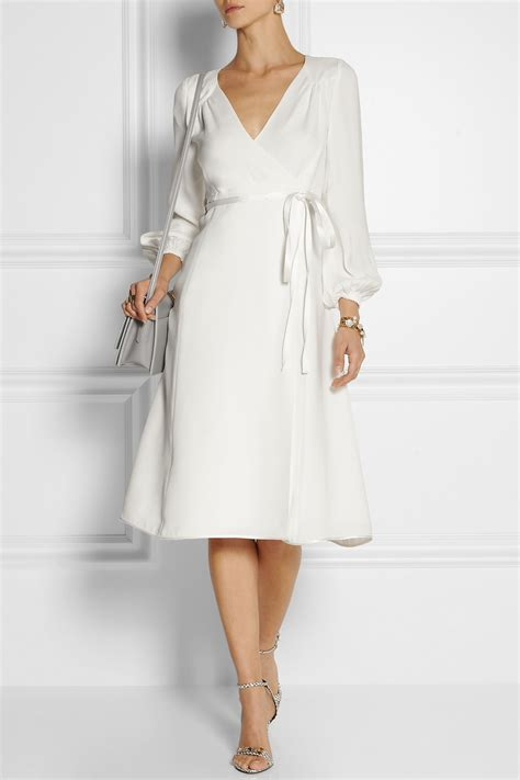 Designer Potw Marc Silk Dress by Lyst Marc Silk Crepe Wrap Dress In White