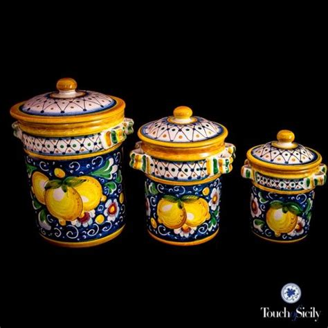 italian canisters kitchen italian pottery canister set pattern b each from touch of sicily is painted and
