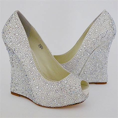 White Wedge Wedding Shoes by Bridal Shoes Wedges Uk
