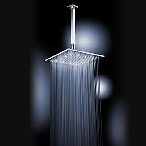 ceiling shower heads chrome finish brass 12 inch white color led square ceiling