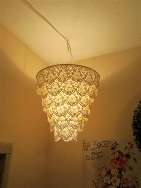 diy pendant light shade reserved for rococopuffs venise lace faux chandelier