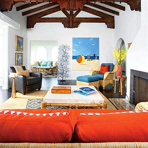 Blue And Orange Living Room by Bright Blue And Orange For A Happy Laguna Home