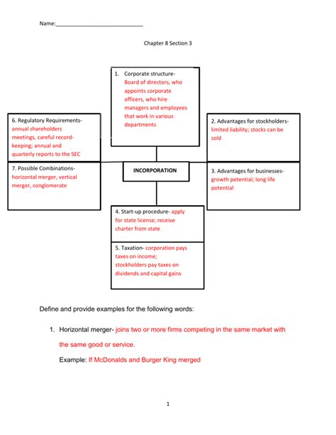 Economics Worksheet Answers